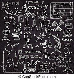 Chemistry, sciense elements doodles