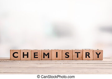 Chemistry sign made of wood