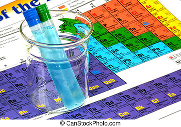 Chemistry - Beaker with Test Tubes and Periodic Chart.