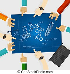chemistry study element scribble doodle science hand drawing research collaboration in laboratory working together