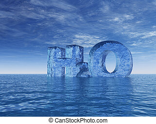 h2o - chemistry symbol for water - h2o - letters at the...