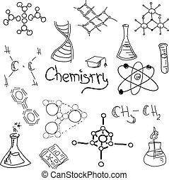 Chemistry symbols with formula on white. Vector illustration
