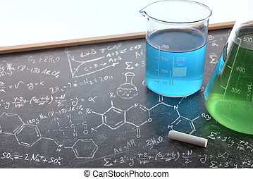 Chemistry teaching with drawn blackboard with chemical instruments