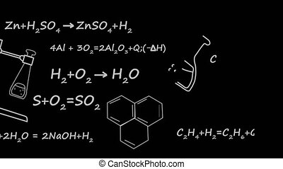 Chemistry theory equation of element molecule bond in black...