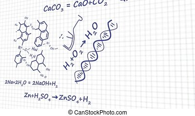 Chemistry theory equation of element molecule bond in white background