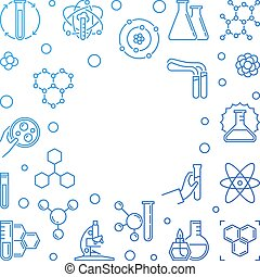 Chemistry vector blue concept frame in thin line style