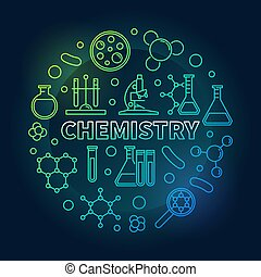 Chemistry vector round colored concept outline illustration