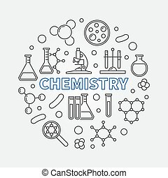 Chemistry vector round concept science line illustration