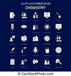 Chemistry White icon over Blue background. 25 Icon Pack
