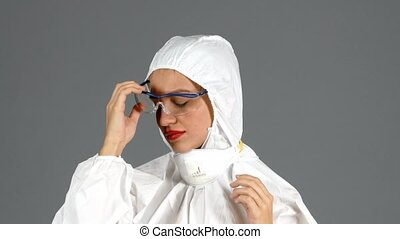 Chemistry woman in isolated sute