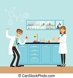 Chemists scientists testing chemical elements, interior of science laboratory, vector Illustration