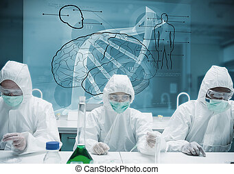 Chemists working in protective suit with futuristic ...