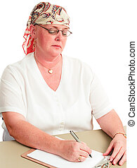 Chemotherapy Patient Back at Work - Woman undergoing...