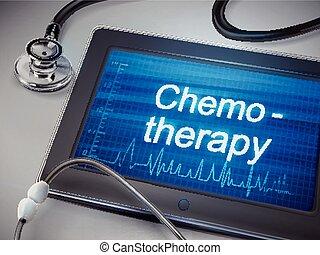 chemotherapy, woord, display, tablet