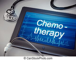 chemotherapy word display on tablet over table