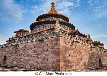 chengde, temple, temples, extérieur, pule, porcelaine, huit, hebei