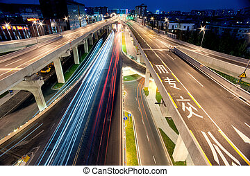 Chengdu, China, city overpass at night