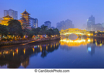Chengdu, China Cityscape on the Jin River