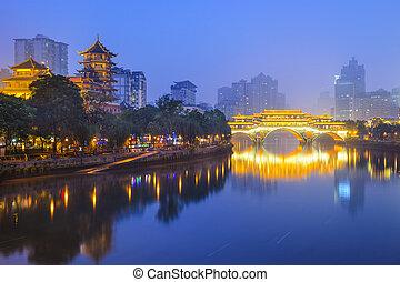 Chengdu, China Cityscape on the Jin River