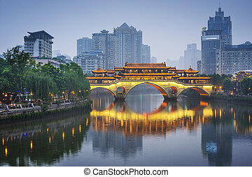 chengdu, china, en, el, jin, río