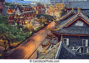 chengdu, china, en, qintai, calle.