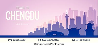 Chengdu famous China city scape. - Flat well known...