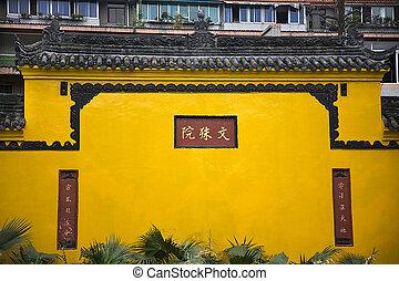 chengdu, mur, bouddhiste, jaune, sichuan, porcelaine,...