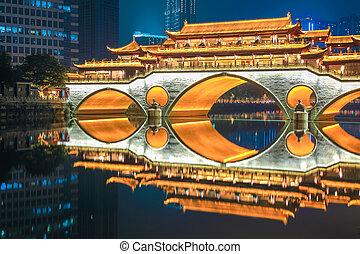 chengdu old bridge at night