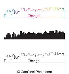 chengdu, sylwetka na tle nieba, linearny, styl, z, tęcza