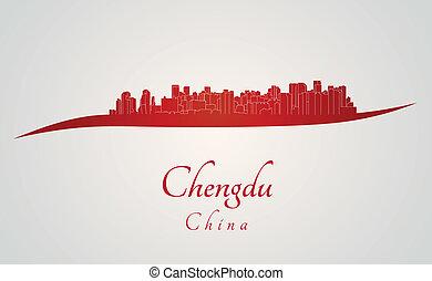chengdu, sylwetka na tle nieba, w, czerwony