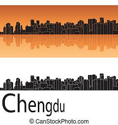 chengdu, sylwetka na tle nieba, w, pomarańczowe tło