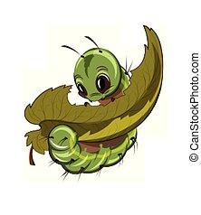 chenille, manger, a, feuille, vector., dessin animé, caractère, illustrations