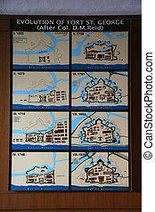 chennai, 街, 印度, 博物館, 喬治, 堡壘