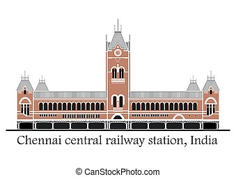 Chennai central train station - Vector illustration of...