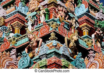 chennai, inde, -, détail, découpage, temple, kapaleeshwar