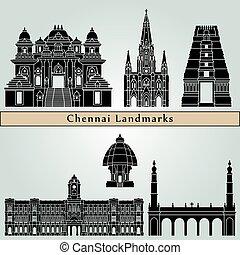 Chennai Landmarks - Chennai landmarks and monuments isolated...