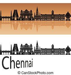 Chennai skyline in orange background in editable vector file