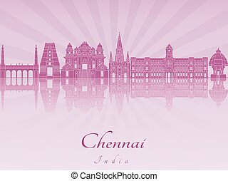 Chennai skyline in purple radiant orchid in editable vector file