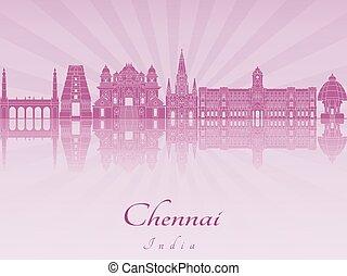 Chennai skyline in purple radiant orchid in editable vector...
