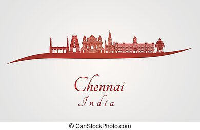 Chennai skyline in red and gray background in editable...