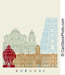 Chennai skyline poster in editable vector file