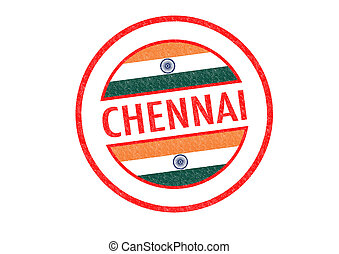 CHENNAI - Passport-style CHENNAI (India) rubber stamp over a...