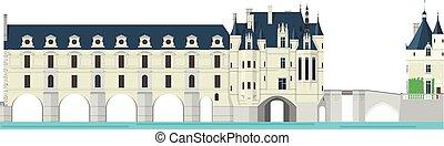 chenonceau, castello, valle loire, france., isolato, bianco, fondo, vettore, illustration.