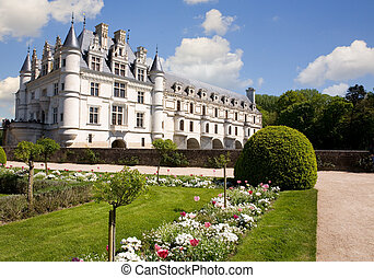 Chenonceau castle from the gardens in Loire Valley