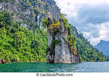 cheo, lan, insjö, in, thailand