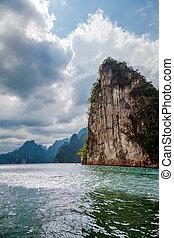Cheo Lan Lake in Thailand. Khao Sok National Park.