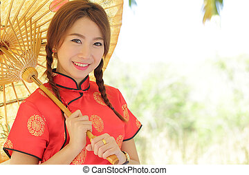 cheongsam, 伝統的である, 女の子, 服, 中国語