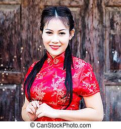 cheongsam, 伝統的である, 女の子, 祝福, 中国語