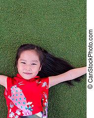 cheongsam, 女の子, 服, アジア人, 中国語