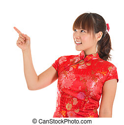 cheongsam, girl, doigt, chinois, pointage